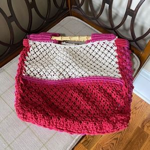 NWOT Free People Macrame Pink and White Tote